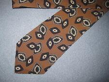 """Mens Short 54"""" Beige Print Silk Tie Necktie Oscar de la Renta FREE US SHIP(5886)"""