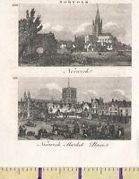 C1815 Antico Piccolo Georgiano Stampa ~Norfolk~ Norwich & Mercato Place