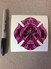 "PINK FIRE DEPARTMENT EMT Firefighter Chevron Reflective Vehicle Sticker Decal 4"""