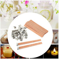 10 Set Wooden Wick Candle Core With Metal Sustainer Stand 12.5mmX150mm TW