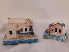 2 Vintage Cardboard Christmas Village Houses Made In Japan