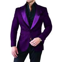 Men Purple Jacquard Paisley Suit Blazer Groom Tuxedo Prom Party Wedding Suit