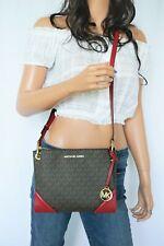Michael Kors Nicole Large Triple Compartment Crossbody Bag MK Brown Red(Scarlet)