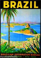Rio de Janeiro Brazil Sugarloaf South America Travel Advertisement Poster