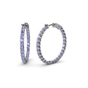 Tanzanite 1 3/4 ctw Inside-Out Womens Hoop Earrings 14K Gold JP:37637
