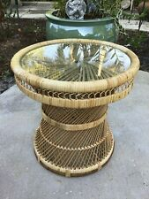Wicker Rattan  Peacock  Side Table 17""