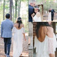 White Ivory Bohemian Beach Wedding Dress Soft Lace Empire Spaghetti Bridal Gowns