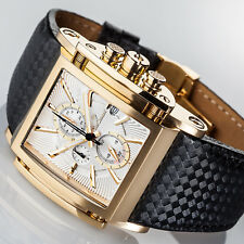 YVES Camani ESCAUT Mens Watch Gold Plated Chronograph Leather Strap New