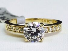 Solid 14K Yellow Gold Round Solitaire Engagement Ring, Sz 7.25, 6.5mm/1 Carat CZ