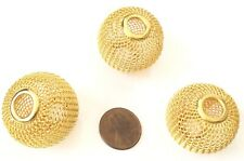 30mm Large Hole Gold Tone Mesh Wire Beads Jewelry Supplies