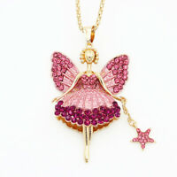 Pink Enamel Crystal Cute Ballet Fairy Angel Star Pendant Betsey Johnson Necklace