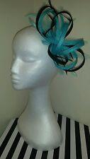 Black and Turquoise / lagoon fascinator /hatinator for wedding/races