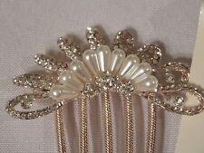 Bridal Hair Comb Tasha Crystal FAUX PEARL HOMECOMING WEDDING PROM NEW