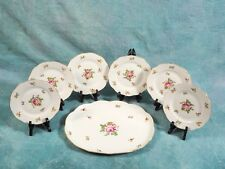 RARE Herend Porcelain Hungary 6 Dessert Plates set with long serving platter