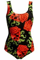 Women's Enchanting Rose Skulls Gothic Swimsuit Bodysuit Leotard Top Swimwear