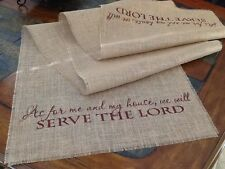 "Primitive Christmas Thanksgiving Fall Burlap Table Runner Serve The Lord 24""x96"""