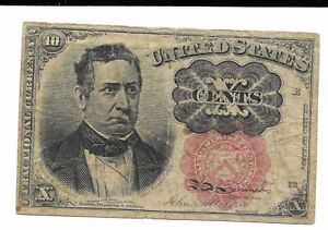 Ten Cents 5th Issue Red Seal United States Fractional Short Key Currency FR1266