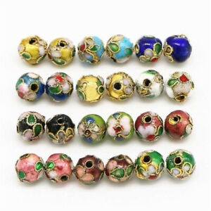 50PCS Handmade Cloisonne Beads Loose Beads Jewelry Making Round Mixed Color