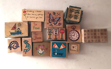 Misc Theme LOT of 16+ WOODEN RUBBER STAMPS letters childrens stuff