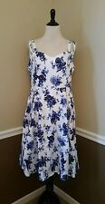 NWT Modcloth Dress US 12 White w/ Blue Floral Fit Flare Midi $89 H&R Pinup 50s