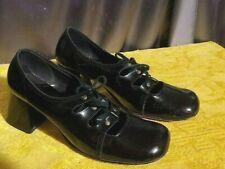 6.5 vtg mod twiggy era 60s Shoes Patent Leather Black Heels corset lace up Go Go