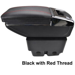 Textile Rotatable Armrest Center Console For Ford Fiesta 09-17 Car Red thread