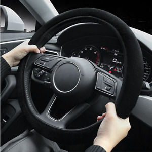 Black Turn Fur Car Steering Wheel Cover Four seasons Universal Fit For 37 - 39cm