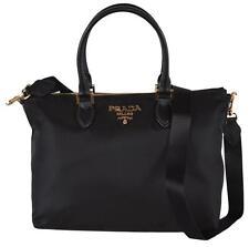 New Prada 1BA278 Borsa A Mano Black Nylon Zip Top Handbag W/Crossbody Strap