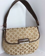 COACH Kristin Signature Op Art Top Handle Flap Bag Retail $158 Khaki 45130 SIGBR