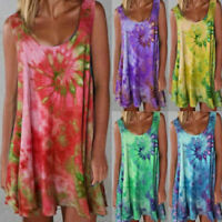 Women's Sleeveless Tie Dye Short Dress T-Shirt Summer Casual Tank Beach Sundress