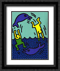 Untitled 1983 2x Matted 20x24 Black Ornate Framed Art Print by Keith Haring