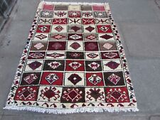 Vintage Traditional Hand Made Oriental Red Beige Brown Wool Gabbe Rug 155x114cm