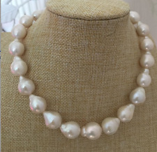 gorgeous 14-16mm south sea baroque white  pearl necklace 18inch 14k