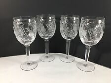 Beautiful Set Of 4 Crystal Wine Glasses With Etched Frosted Flowers