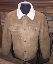 MENS VINTAGE OLD NAVY FAUX SUEDE & SHERPA FLEECE JACKET SIZE MEDIUM