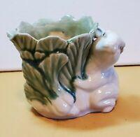 Ceramic Planter Featuring Rabbit Bunny & Cabbage