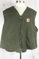 Vintage Carhartt Vest Green Sz 2XL Fleece Lined Chore Farm Ranch Made USA VP166