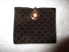 Vtg Gucci Wallet Horseshoe Clasp Brown Suede Logo Print Sterling Corners Superb!