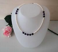 Echte Süßwasser Zucht Perlen Halskette Collier & Amethysten 925 Silber NEU