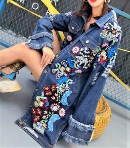 Vintage Spring Denim Jacket Embroidery Jeans Retro Coat Embroidery  Denim Top