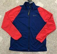 Nike Dri-Fit Men's Large L Training Jacket Red & Blue Mock Neck Full Zip 928022