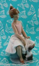 Lladro # 6402 ~ LITTLE BALLERINA ~ Girl W/Cat    ***MINT***  BUY 1 GET 1 50% OFF