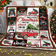 Christmas Jeep Sofa Throw Quilt