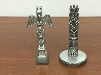 Vintage small metal totem poles pewter aluminum abalone inlaid Detailed