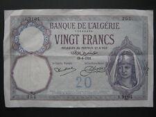 Billete De 20 francos de Argelia 18-6-1932 vf