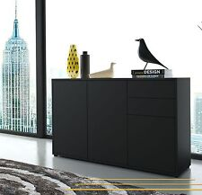 Wooden Sideboard Unit Black White Chest 2 Drawers 3 Door Cabinet Modern TV Stand