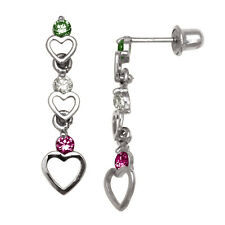 Triple Heart Multi-Color Birthstone Dangle Earrings Screw Back 14K White Gold
