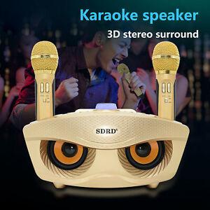Wireless Microphone System Bluetooth Karaoke Speaker 2 Handheld Mic KTV Home