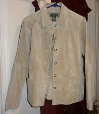 M NWT Ladies Womens Relativity Coat Jacket Beige Washable Suede Leather Buttons