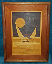 GORGEOUS MARQUETRY INLAID WOOD PICTURE OF SAIL BOATS IN THE SETTING SUN! SIGNED